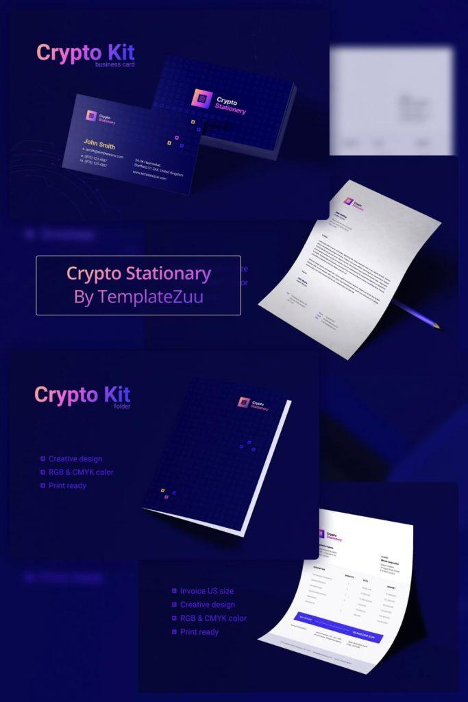 Crypto Stationary by MasterBundles Pinterest Collage Image.