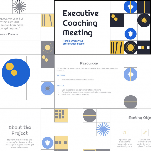 Main cover image for Free Executive Coaching Meeting PowerPoint Template by MasterBundles.