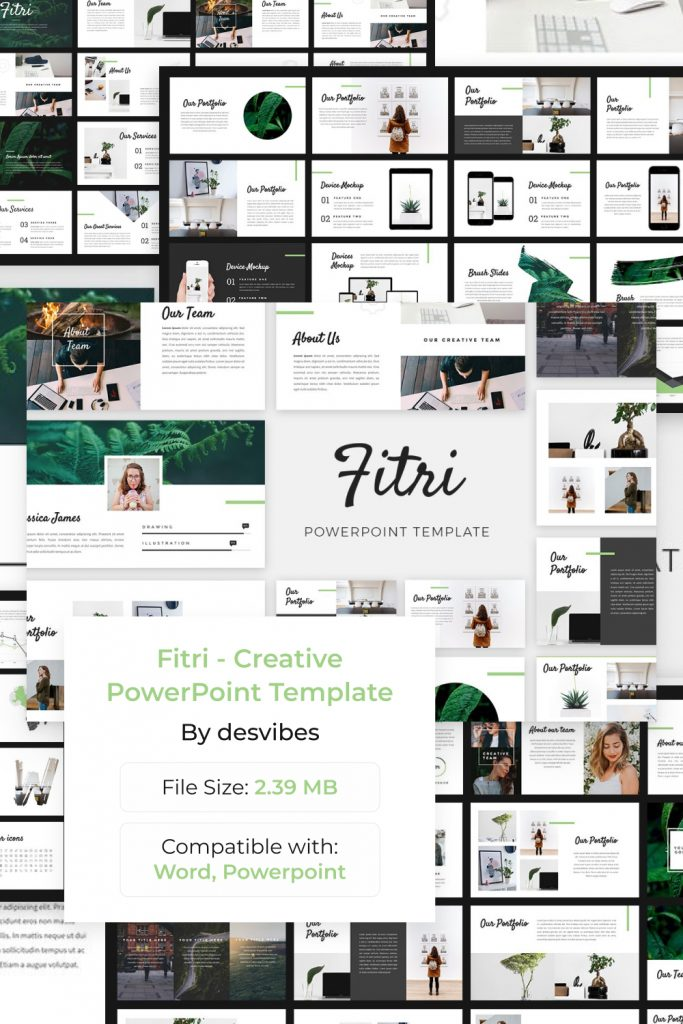 Fitri - Creative PowerPoint Template by MasterBundles Pinterest Collage Image.