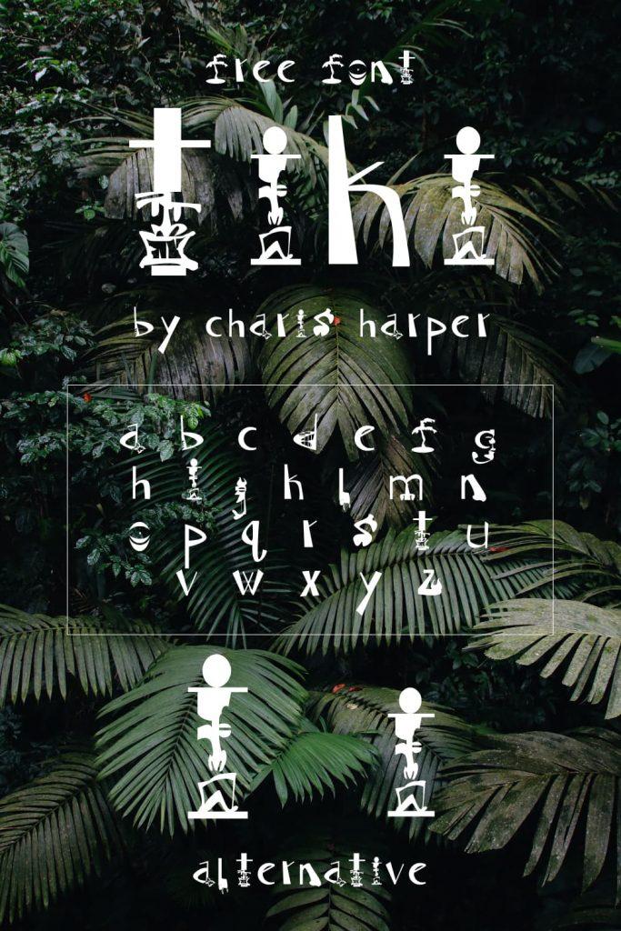 Alphabet preview for Free tiki font Pinterest by MasterBundles.