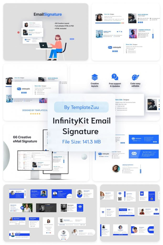 InfinityKit Email Signature v1.3 by MasterBundles Pinterest Collage Image.