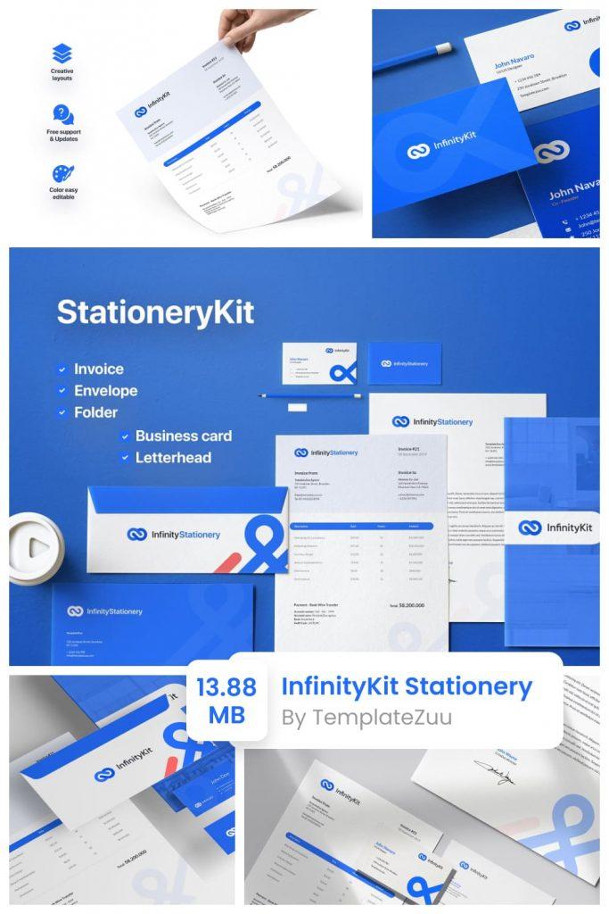 InfinityKit Stationery by MasterBundles Pinterest Collage Image.