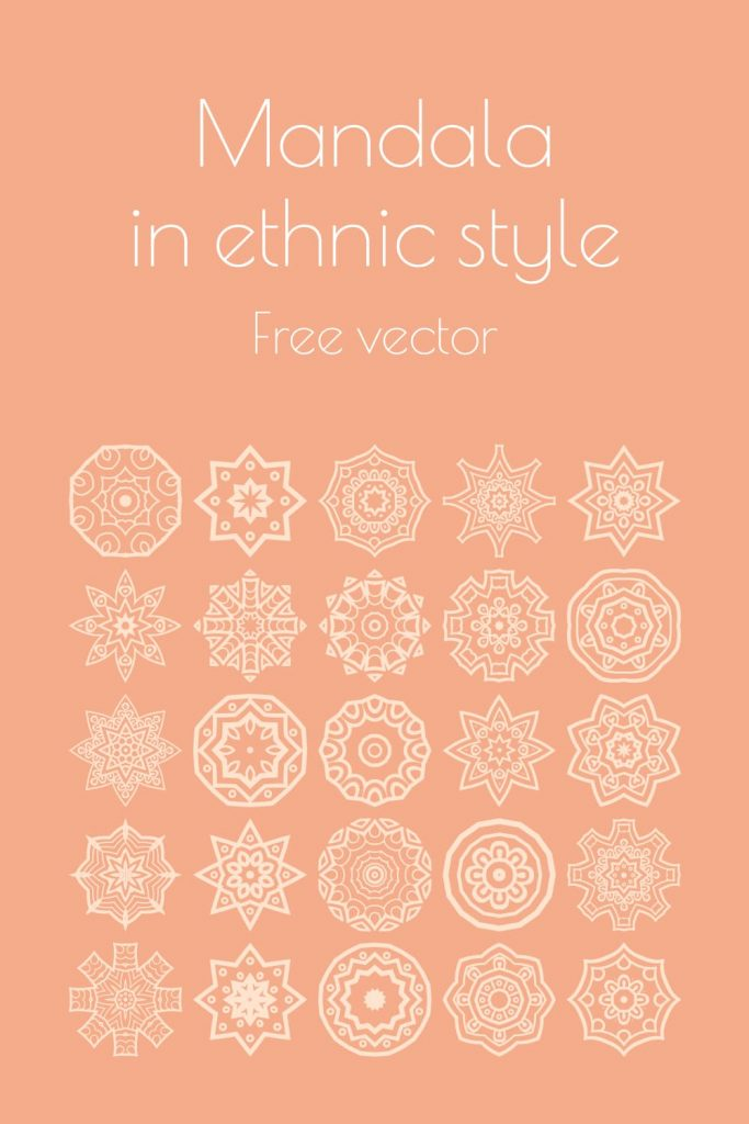 Pinterest collage image Mandala in ethnic style Free Vector MasterBundles.