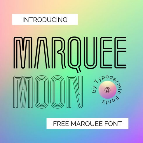Free marquee font main cover preview by MasterBundles.