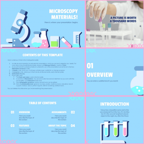 Main cover preview Microscoping Materials PowerPoint Template.