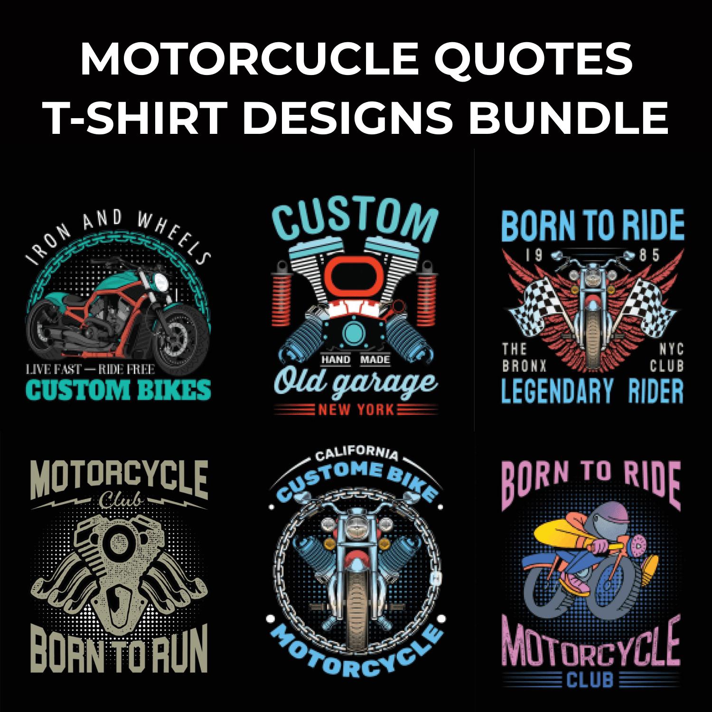 Motorcycle T-shirt Design Bundle by MasterBundles.