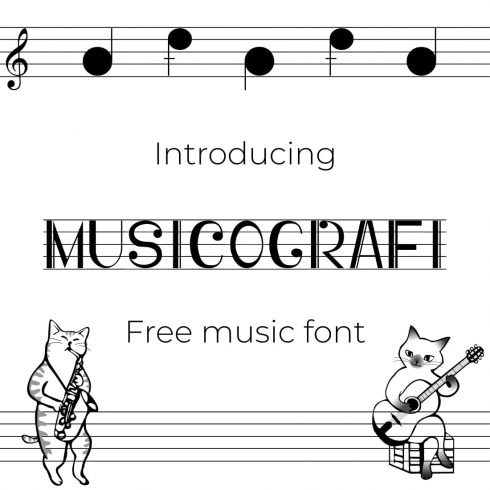 Cover image collage for Musicografi free music font by MasterBundles.