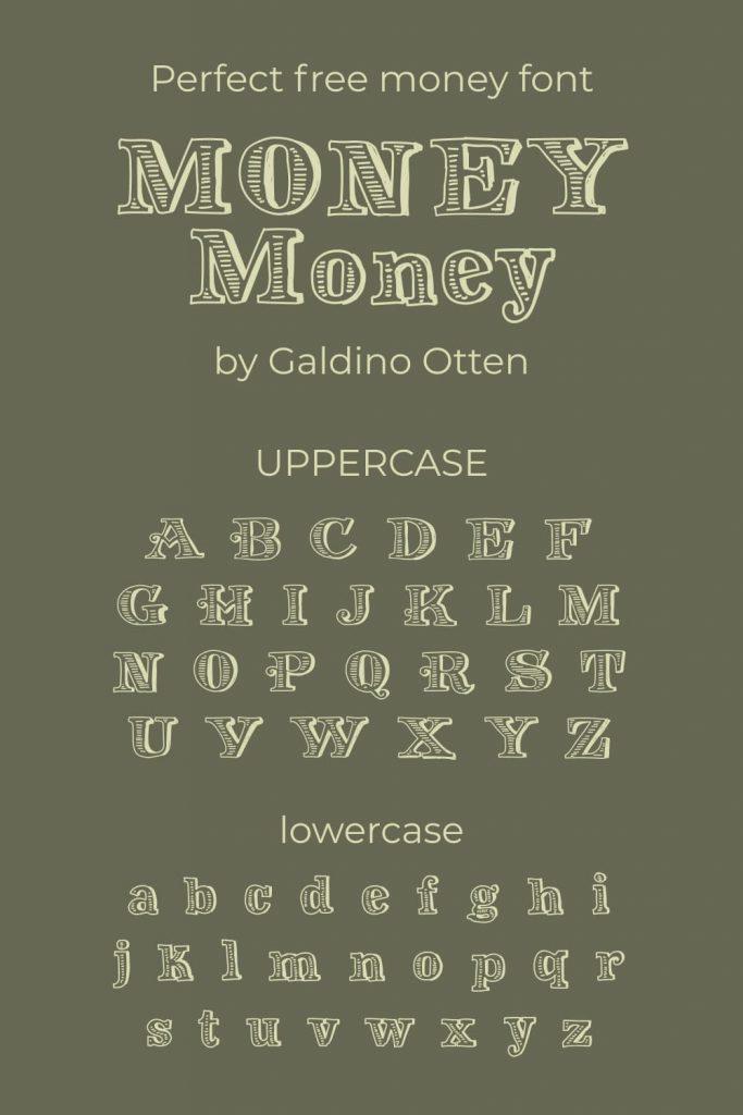 MasterBundles Alphabet example image with free money font for Pinterest.