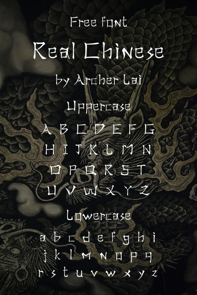 Pinterest Alphabet preview for Real Chinese Free Font by MasterBundles.