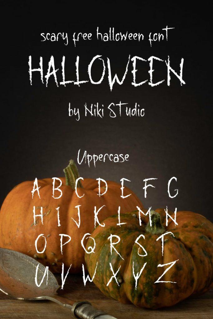MasterBundles Pinterest Alphabet example for creepy free halloween font.