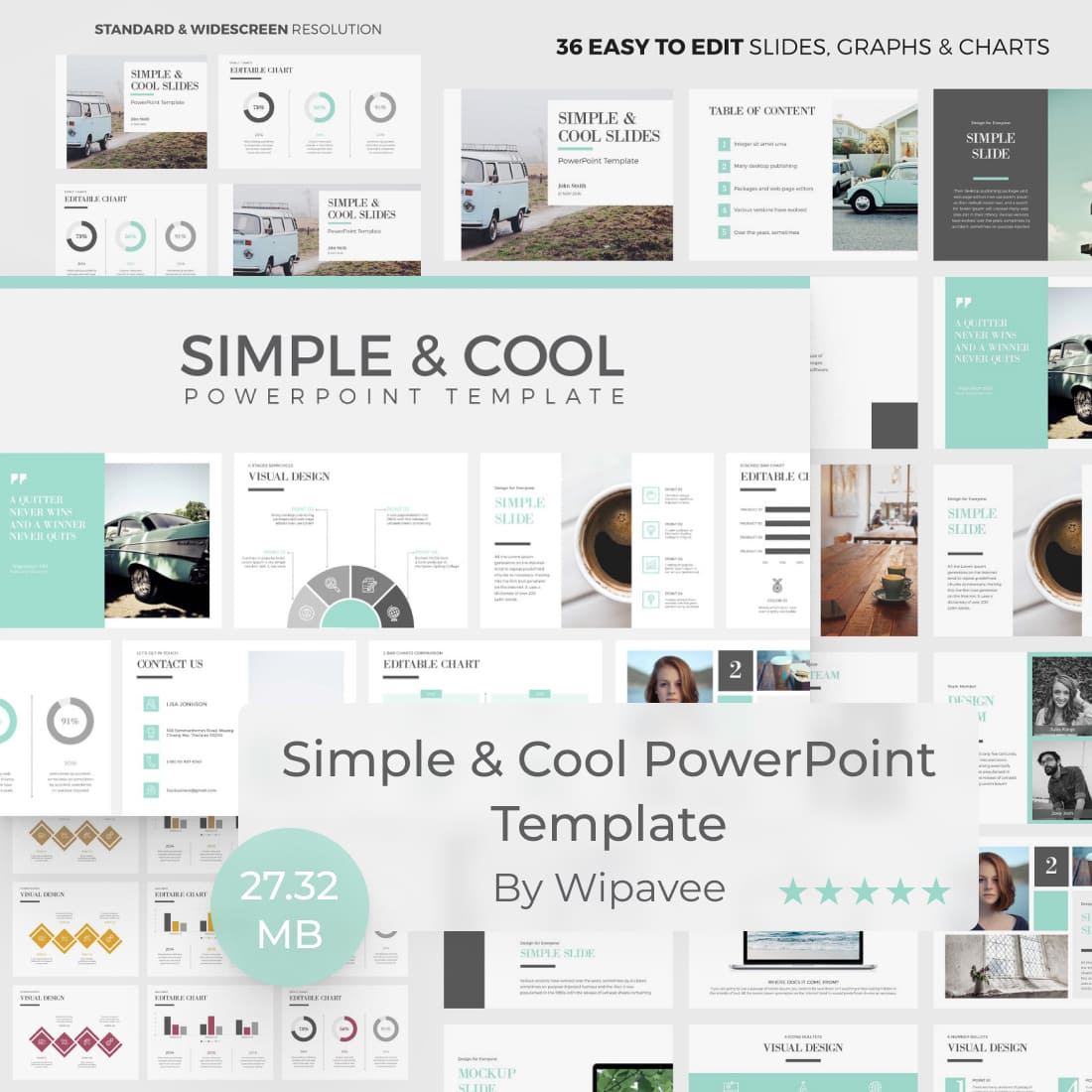 Simple & Cool PowerPoint Template by MasterBundles.