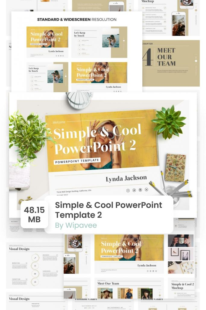 Simple & Cool PowerPoint Template 2 by MasterBundles Pinterest Collage Image.