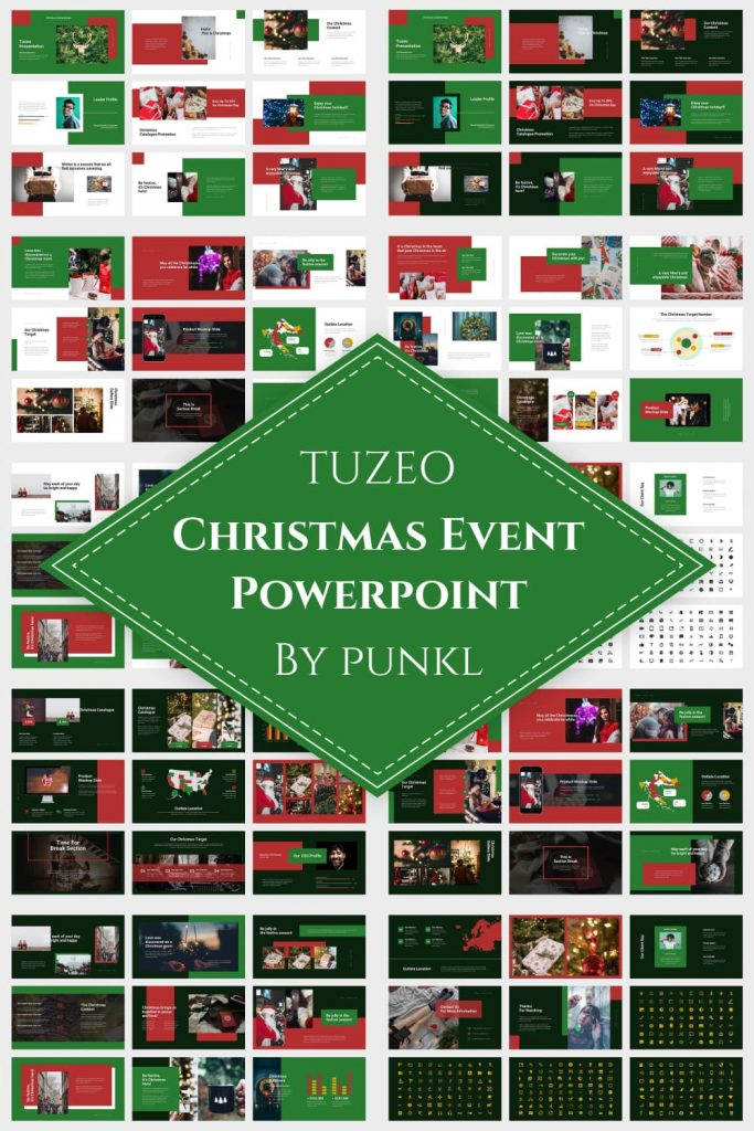 01 Tuzeo: Christmas Event Powerpoint by MasterBundles Pinterest Collage Image.