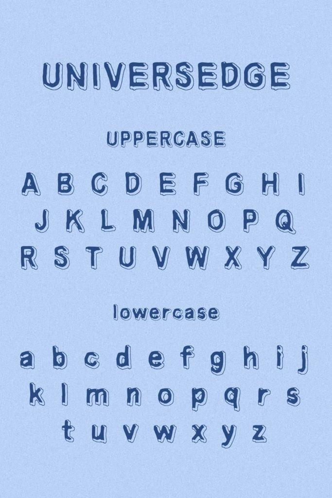 MasterBundles Universedge Free Font Alphabet preview for Pinterest.