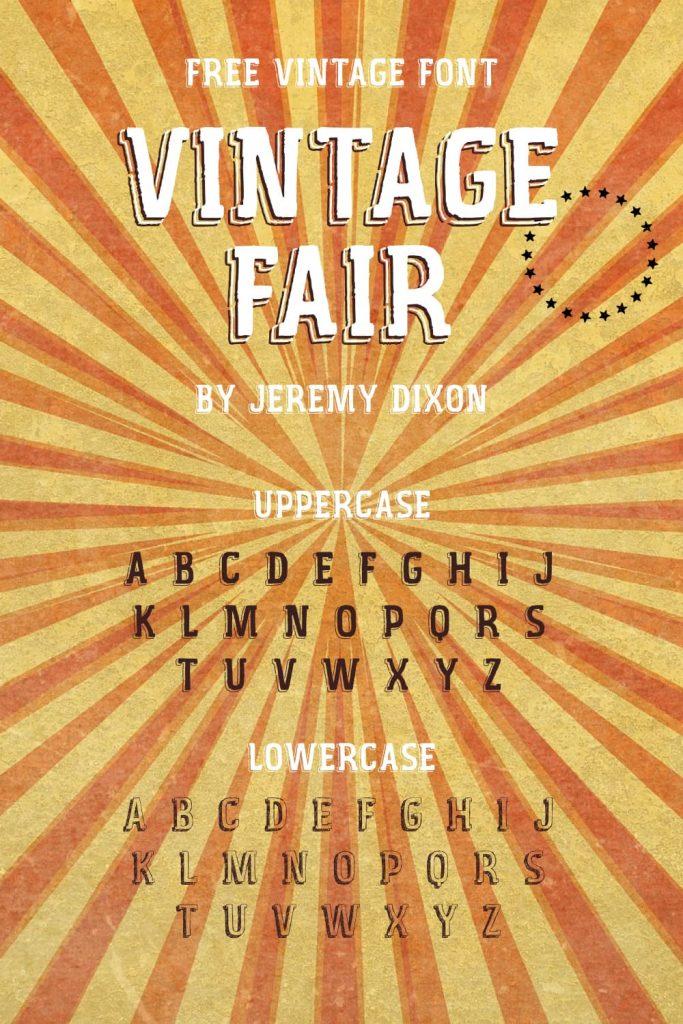 Pinterest alphabet preview Vintage Fair free font by MasterBundles.
