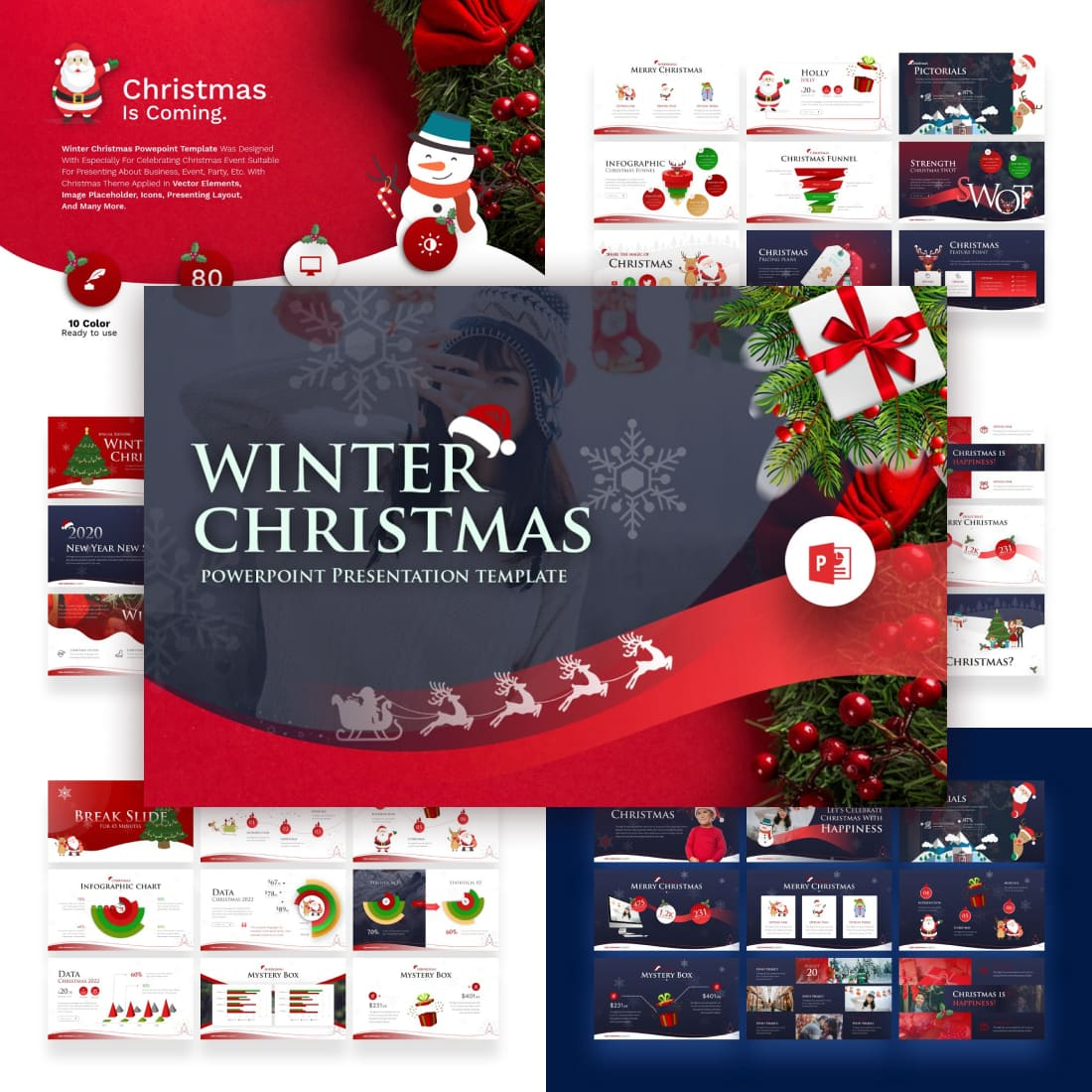 Winter Christmas PowerPoint Template by MasterBundles.
