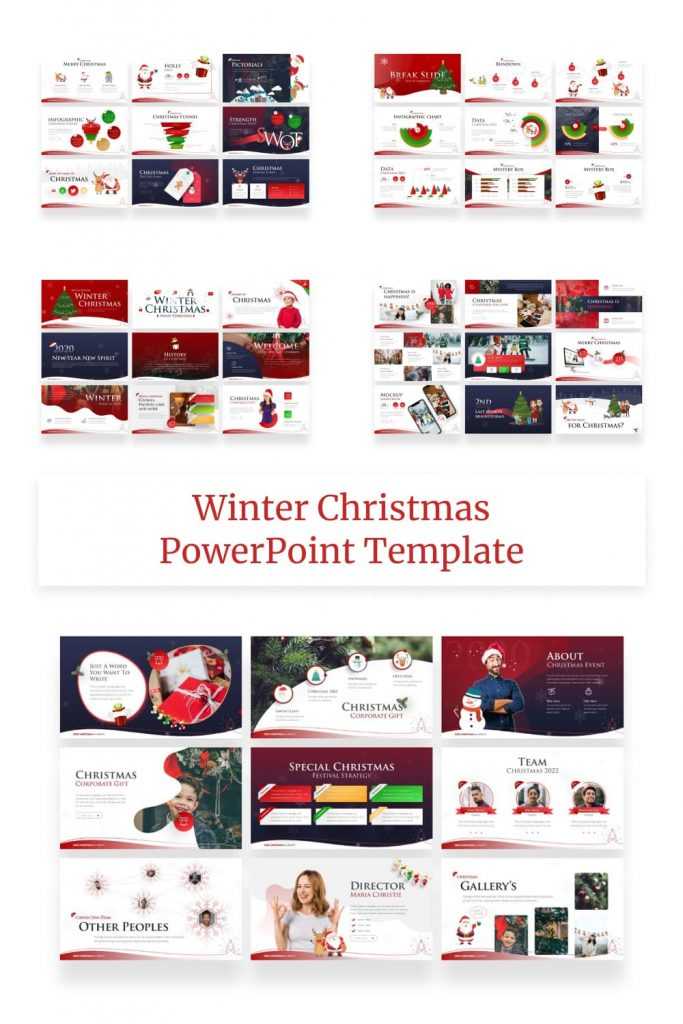 Winter Christmas PowerPoint Template by MasterBundles Pinterest Collage Image.