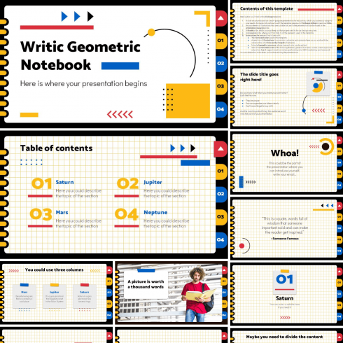 Main preview image for Writic Geometric Notebook PowerPoint Presentation by MasterBundles.