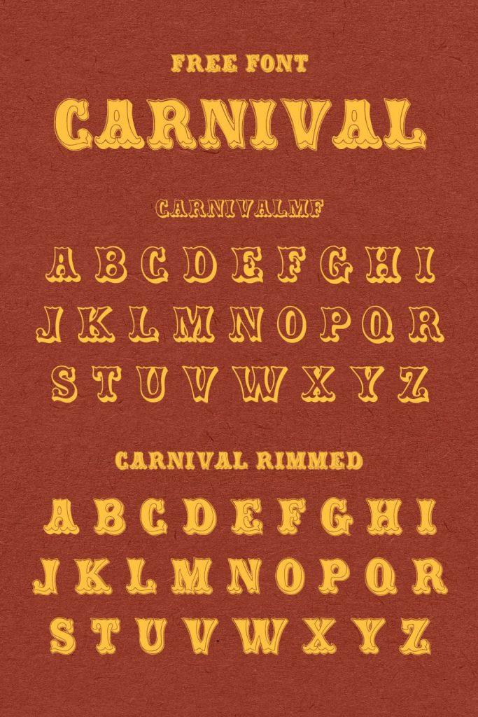 Pinterest alphabet preview for carnival font free by MasterBundles.