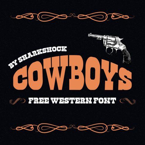 Cowboy font free Main cover image by MasterBundles.