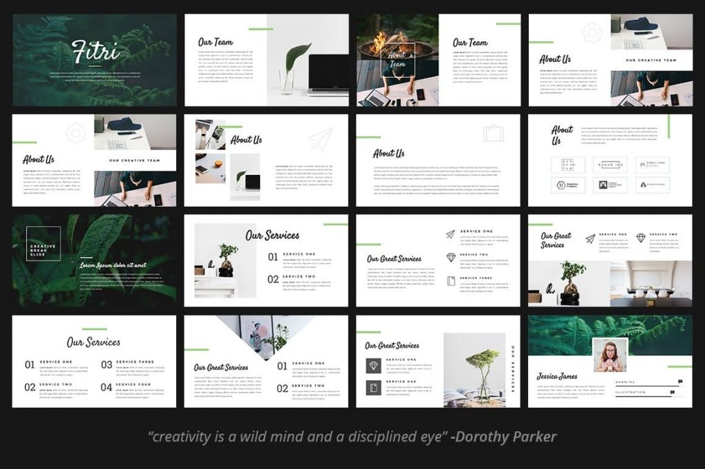60+ Unique & Stunning Slides Fitri - Creative PowerPoint Template.