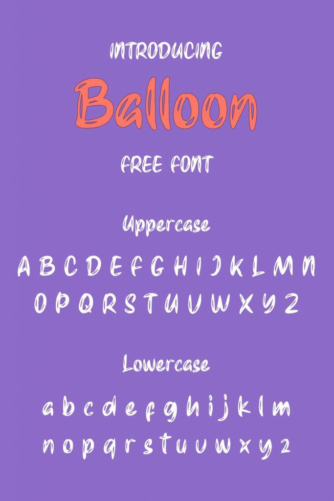 Pinterest Alphabet preview for free balloon font by MasterBundles.