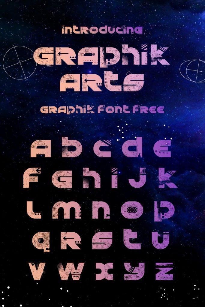 Graphik font free alphabet preview for Pinterest.