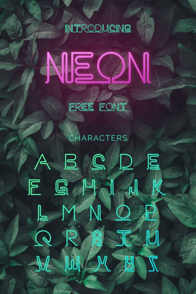 Pinterest Alphabet preview example for neon font free by MasterBundles.