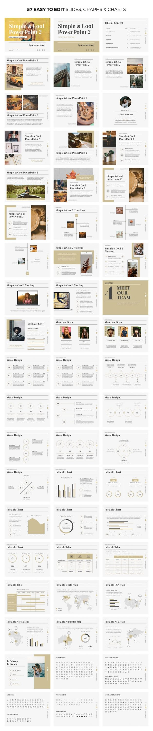 57 easy to customize slides Simple & Cool PowerPoint Template 2.