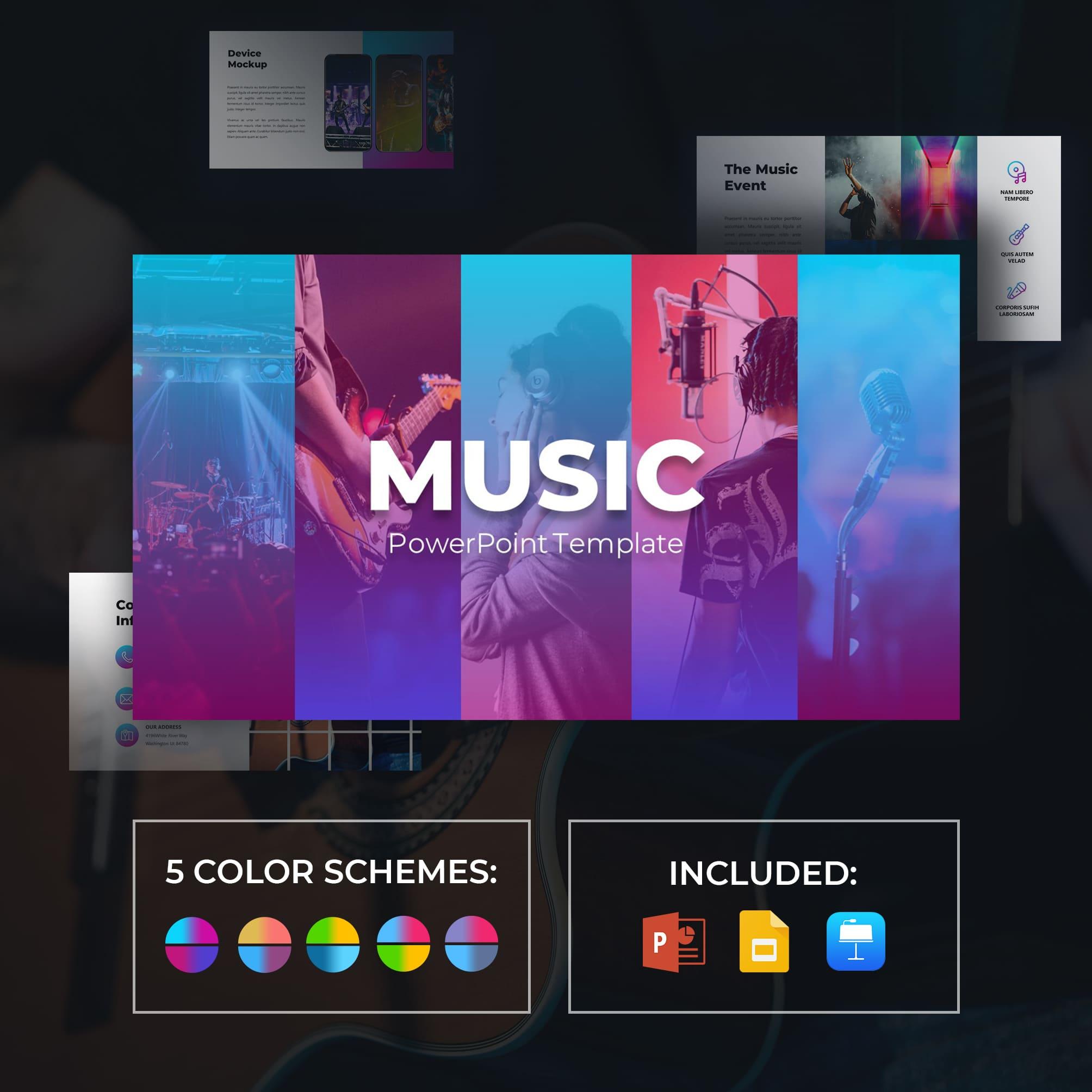 50 Slides Music Presentation Template 2021: Powerpoint, Google Slides & Keynote.