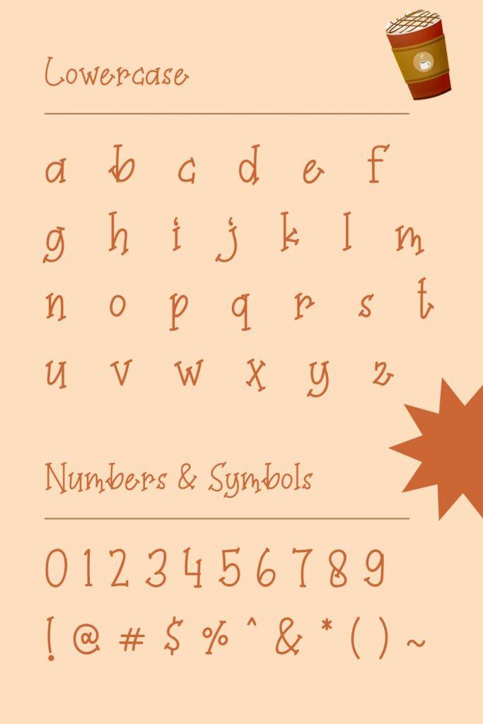 Pinterest Lowercase and symbols example for Coffee Milkshake font free by MasterBundles.