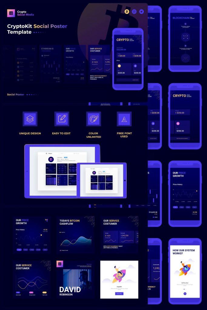 Crypto Social Media by MasterBundles Pinterest Collage Image.
