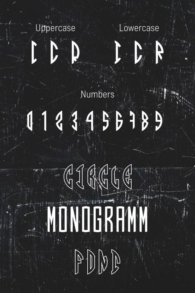 Pinterest image for free circle monogram font.