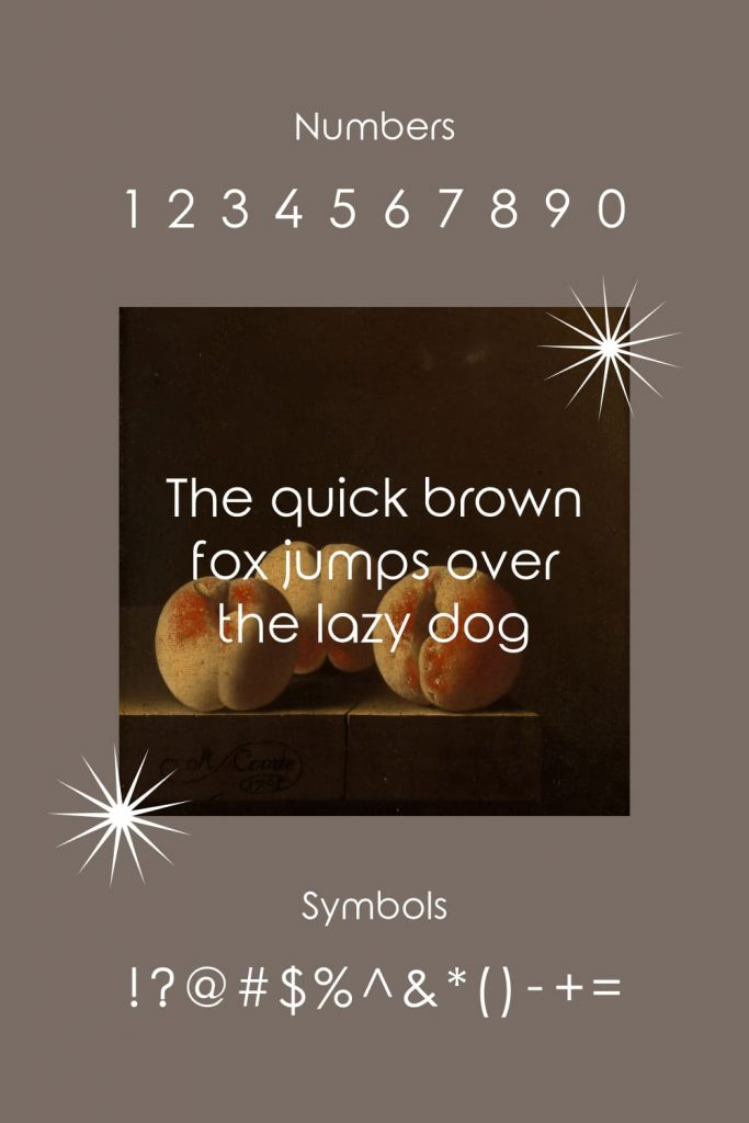 Numbers symbols example for Free elegance font Pinterest image.