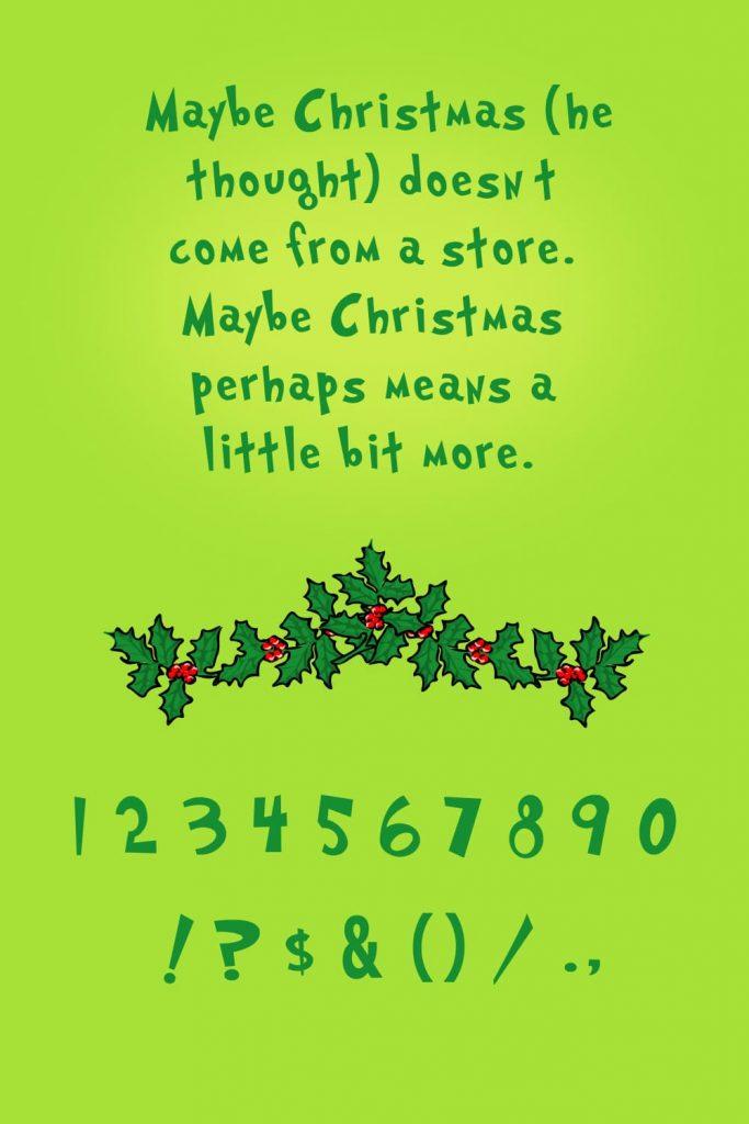 Image collage for Pinterest grinch font free by MasterBundles.