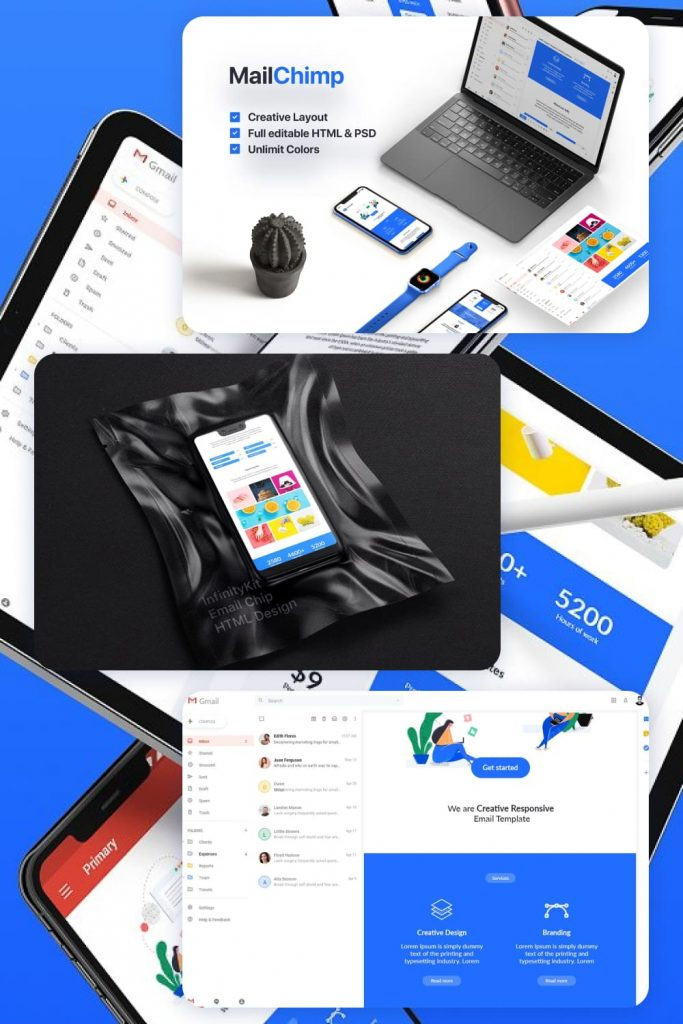 InfinityKit MailChimp by MasterBundles Pinterest Collage Image.