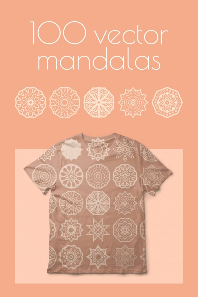 Pinterest Mandala in ethnic style Free Vector with t-shirt.
