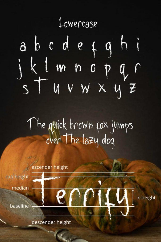 Pinterest image for Terrifying free halloween font.