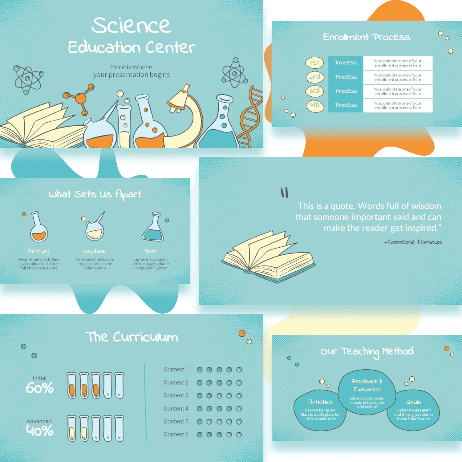 Free Science Education Center PowerPoint Template cover image.