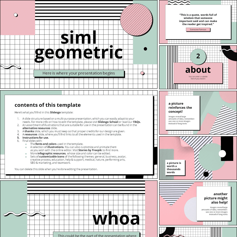 MasterBundles preview Siml Geometric Presentation PowerPoint template.