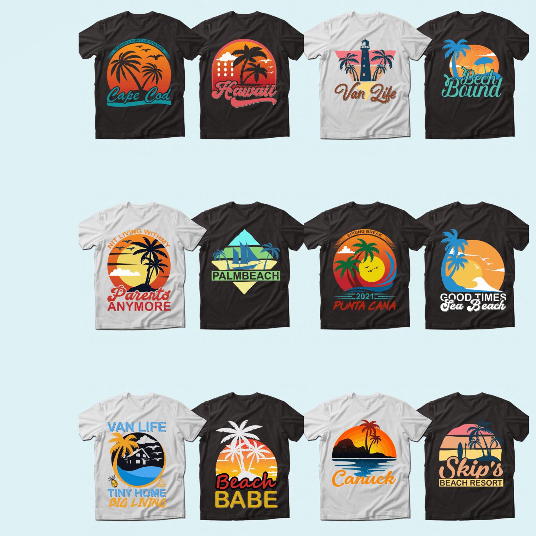 Summer Quotes T-shirt Designs Bundle.