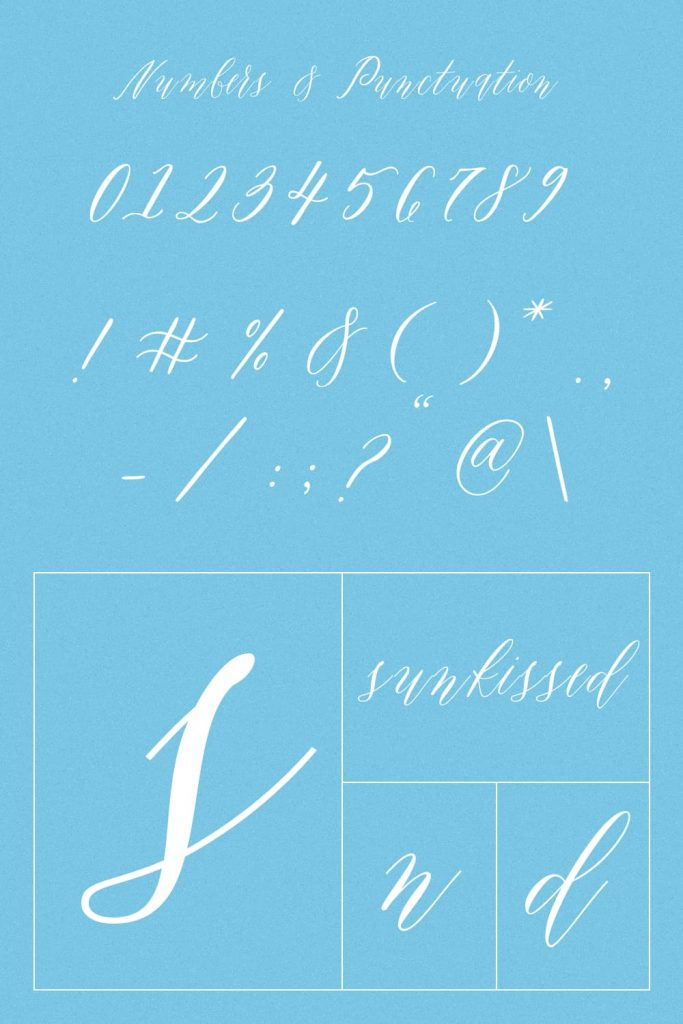 MasterBundles Sunkissed Awesome Handwriting Font Pinterest Collage Image with Numbers and Punctuation.