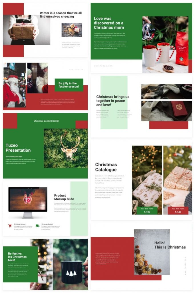 02 Tuzeo: Christmas Event Powerpoint by MasterBundles Pinterest Collage Image.