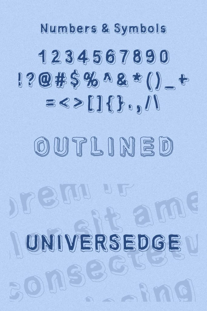 Numbers Symbols preview for Universedge Free Font Pinterest.
