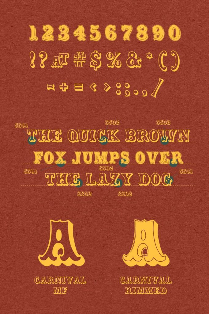 Carnival font free Numbers and Punctuation example Pinterest collage image.