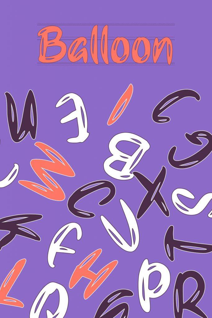 Free balloon font Pinterest image by MasterBundles.