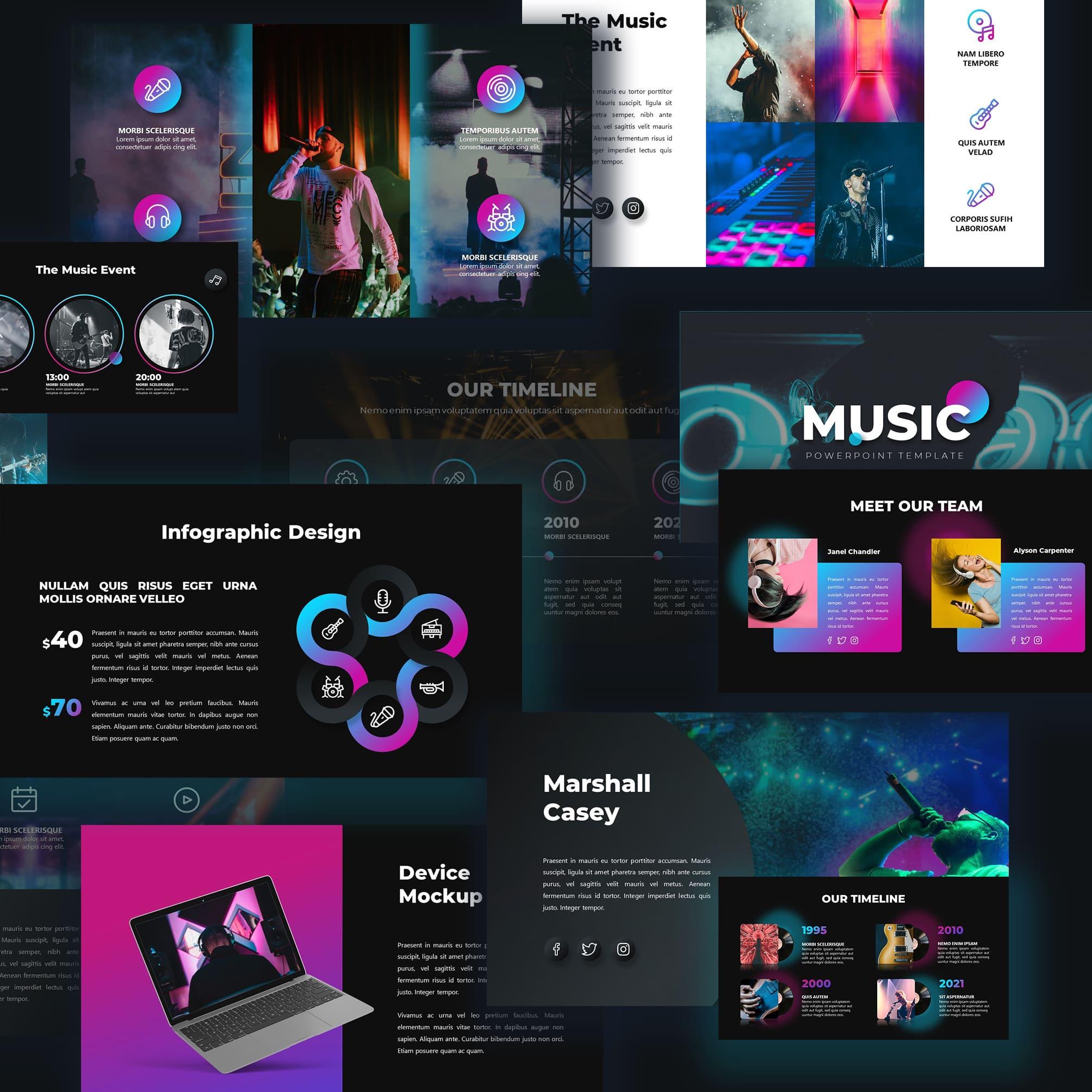 50 Slides Music Presentation Template 2021 by MasterBundles.
