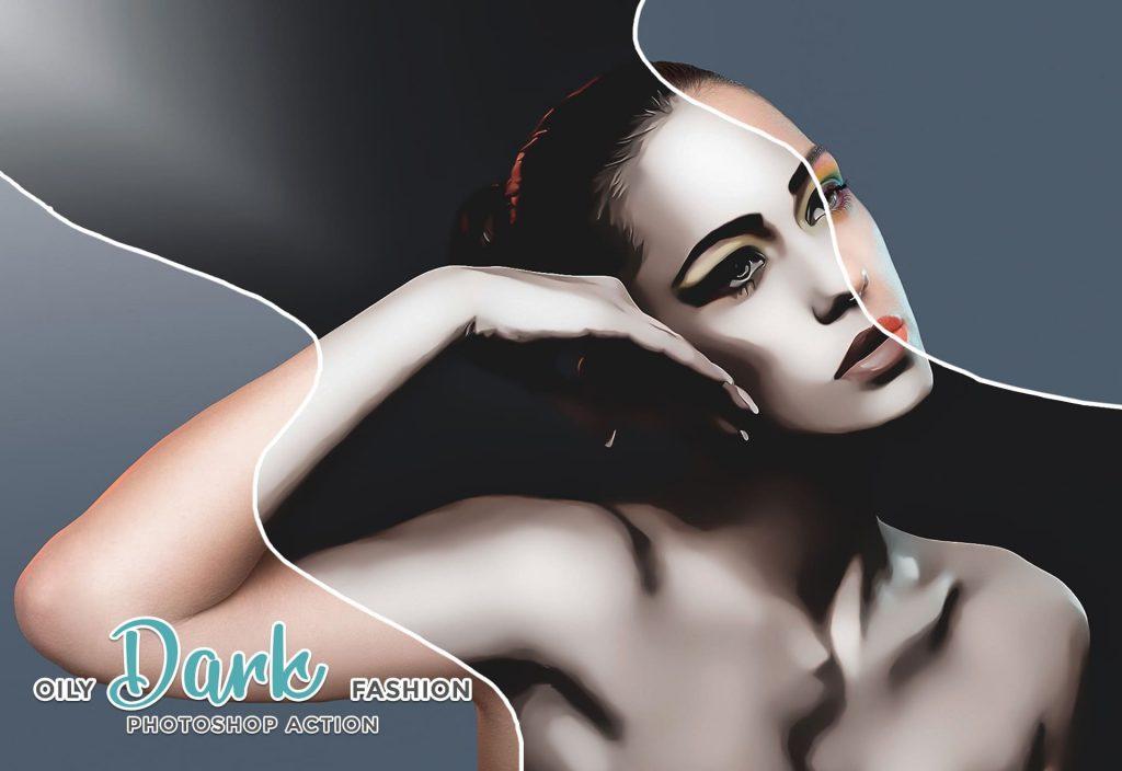 Oily dark fashion for Photoshop. Modern Art Painting.
