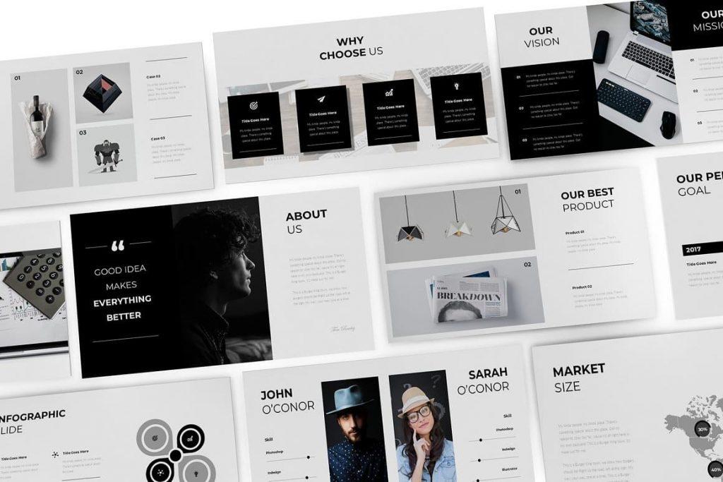 Widescreen size Pitch Deck presentation template.