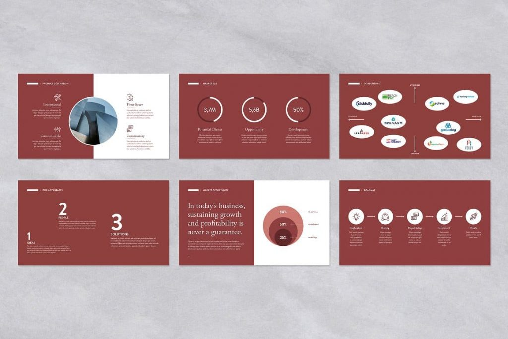Content Red Pitch Deck Powerpoint Presentation Template.